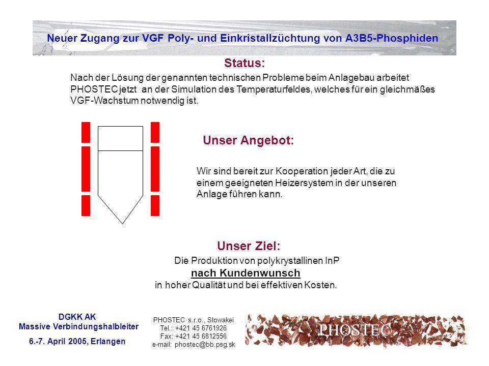 PHOSTEC s.r.o., Slowakei Tel.: +421 45 6761926 Fax: +421 45 6812556 e-mail: phostec@bb.psg.sk Neuer Zugang zur VGF Poly- und Einkristallzüchtung von A