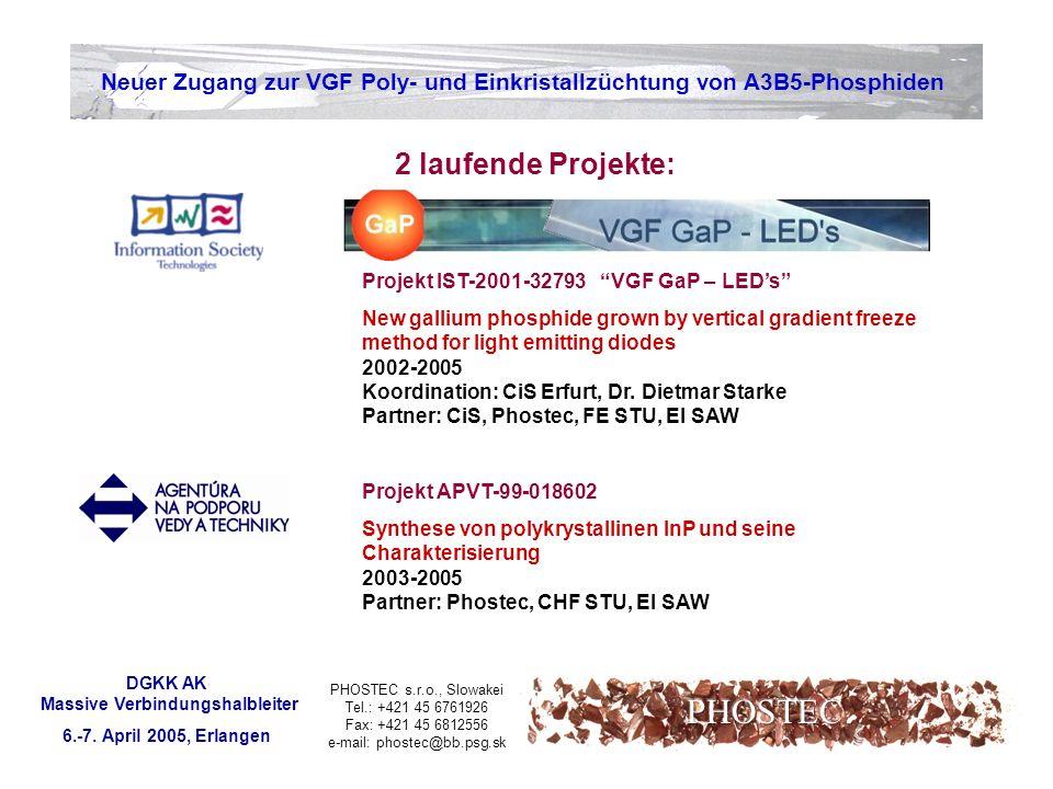 PHOSTEC s.r.o., Slowakei Tel.: +421 45 6761926 Fax: +421 45 6812556 e-mail: phostec@bb.psg.sk Neuer Zugang zur VGF Poly- und Einkristallzüchtung von A3B5-Phosphiden DGKK AK Massive Verbindungshalbleiter 6.-7.