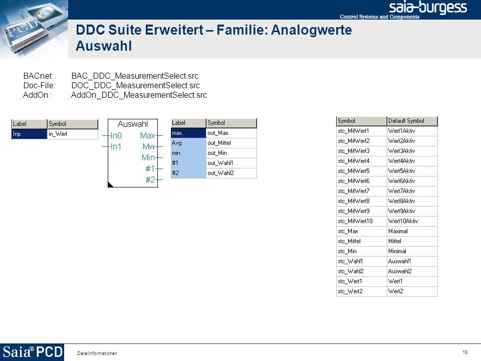 18 Detailinformationen DDC Suite Erweitert – Familie: Analogwerte Auswahl BACnet:BAC_DDC_MeasurementSelect.src Doc-File:DOC_DDC_MeasurementSelect.src