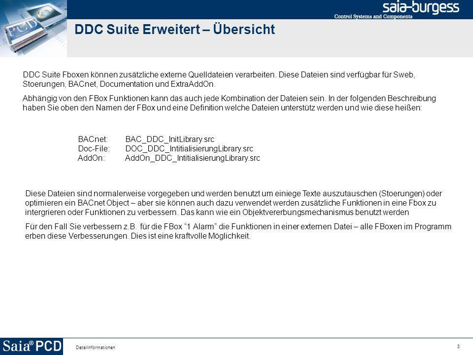 4 Detailinformationen DDC Suite Erweitert – Übersicht Für die Verbesserung der Funktionen benötigen Sie die internen Symboldefinitionen der Ein/Ausgänge der FBox Parameter und ebenso die internen Daten die im Einstellfenster verfügbar sind Diese Informationen sind Inhalt der folgenden Seiten.