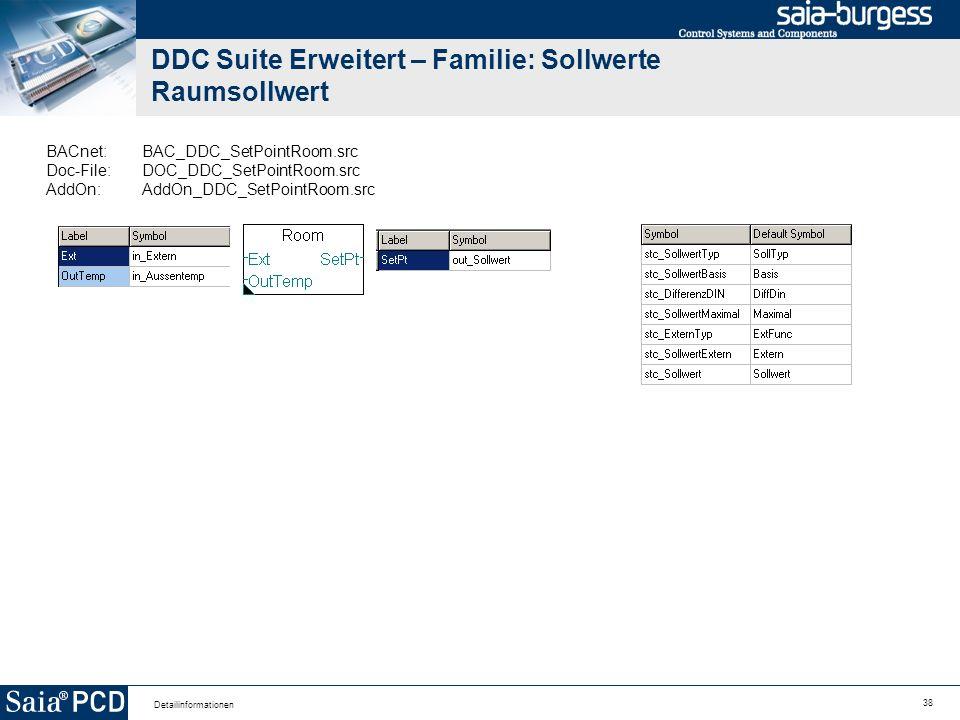 38 Detailinformationen DDC Suite Erweitert – Familie: Sollwerte Raumsollwert BACnet:BAC_DDC_SetPointRoom.src Doc-File:DOC_DDC_SetPointRoom.src AddOn:A