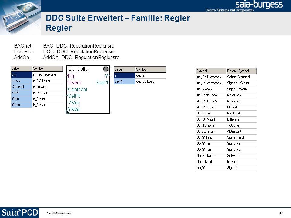 67 Detailinformationen DDC Suite Erweitert – Familie: Regler Regler BACnet:BAC_DDC_RegulationRegler.src Doc-File:DOC_DDC_RegulationRegler.src AddOn:Ad