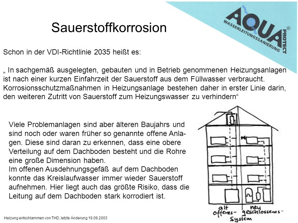 Heizung entschlammen von THD, letzte Änderung 19.09.2003 Sauerstoffkorrosion Schon in der VDI-Richtlinie 2035 heißt es: In sachgemäß ausgelegten, gebauten und in Betrieb genommenen Heizungsanlagen ist nach einer kurzen Einfahrzeit der Sauerstoff aus dem Füllwasser verbraucht.