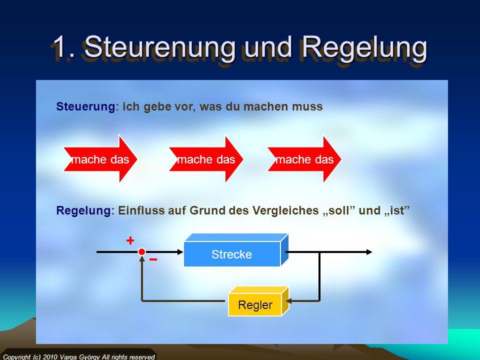 1. Steurenung und Regelung Steuerung: ich gebe vor, was du machen muss Regelung: Einfluss auf Grund des Vergleiches soll und ist Copyright (c) 2010 Va