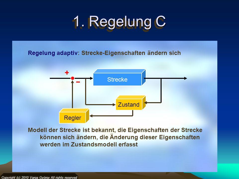1. Regelung C Regelung adaptiv: Strecke-Eigenschaften ändern sich Copyright (c) 2010 Varga György All rights reserved Strecke Zustand Modell der Strec