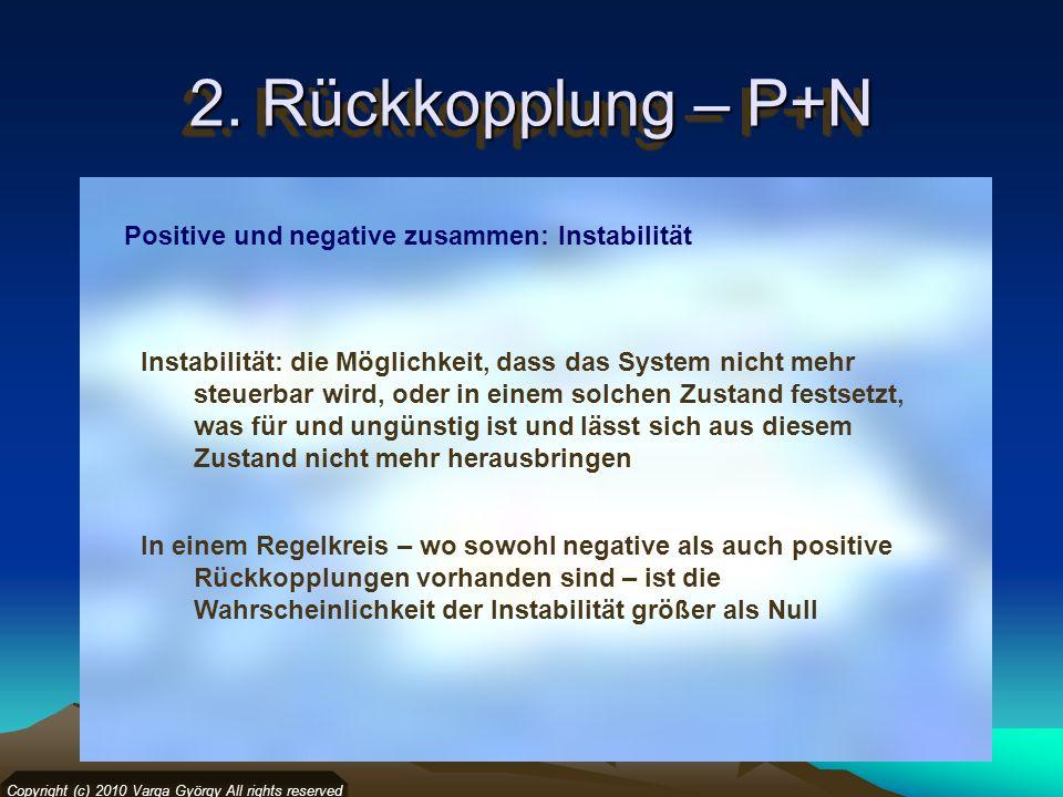 2. Rückkopplung – P+N Copyright (c) 2010 Varga György All rights reserved Positive und negative zusammen: Instabilität In einem Regelkreis – wo sowohl