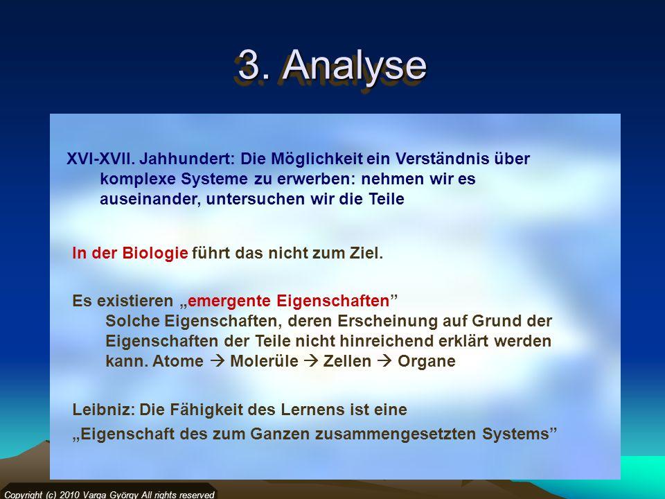 3. Analyse Copyright (c) 2010 Varga György All rights reserved XVI-XVII. Jahhundert: Die Möglichkeit ein Verständnis über komplexe Systeme zu erwerben