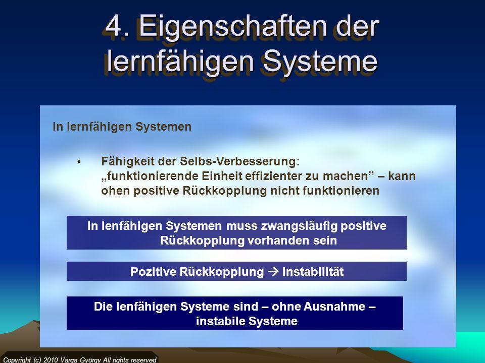 Copyright (c) 2010 Varga György All rights reserved In lernfähigen Systemen Fähigkeit der Selbs-Verbesserung: funktionierende Einheit effizienter zu m