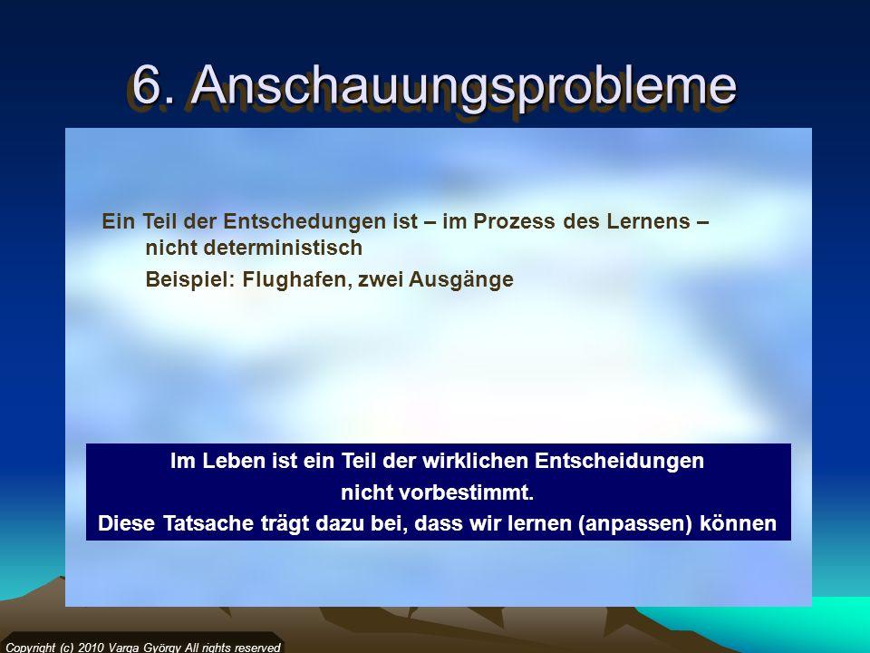 6. Anschauungsprobleme Copyright (c) 2010 Varga György All rights reserved Ein Teil der Entschedungen ist – im Prozess des Lernens – nicht determinist