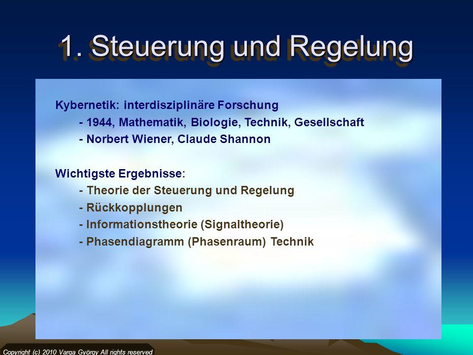 1. Steuerung und Regelung Kybernetik: interdisziplinäre Forschung - 1944, Mathematik, Biologie, Technik, Gesellschaft - Norbert Wiener, Claude Shannon