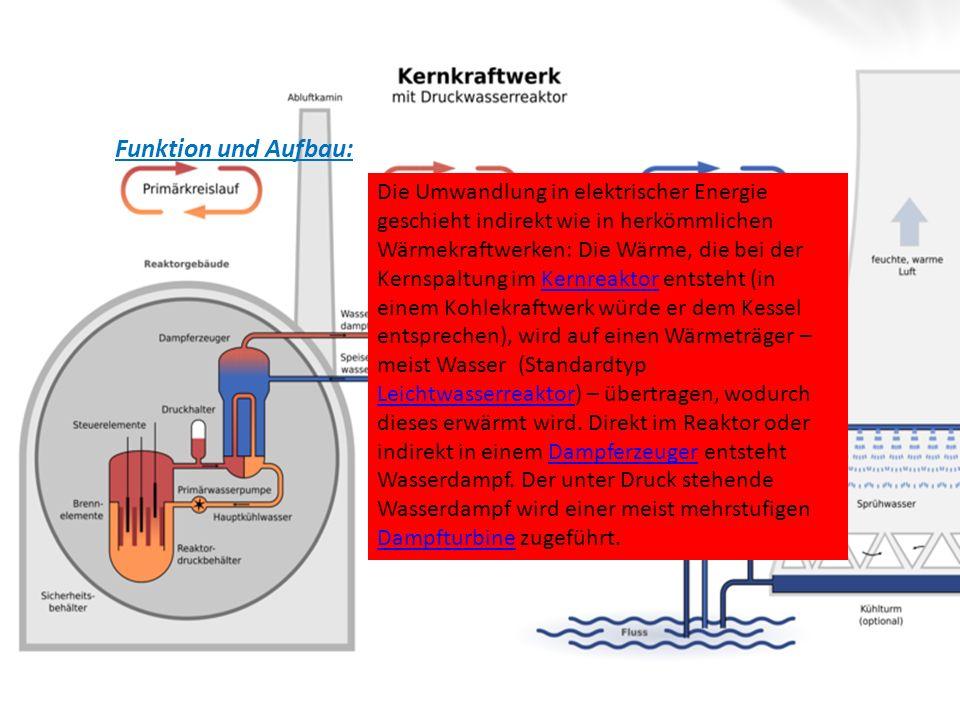 Funktion und Aufbau: Die Umwandlung in elektrischer Energie geschieht indirekt wie in herkömmlichen Wärmekraftwerken: Die Wärme, die bei der Kernspalt
