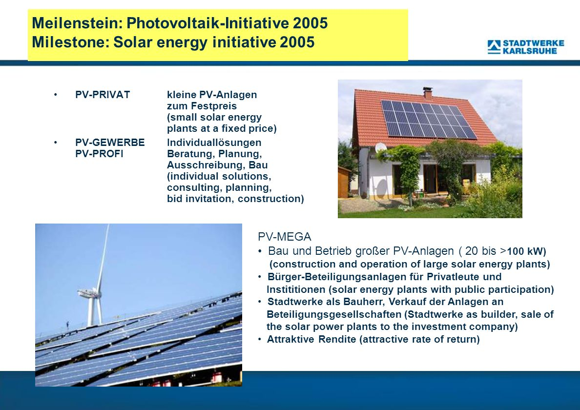 Meilenstein: Photovoltaik-Initiative 2005 Milestone: Solar energy initiative 2005 PV-PRIVAT kleine PV-Anlagen zum Festpreis (small solar energy plants