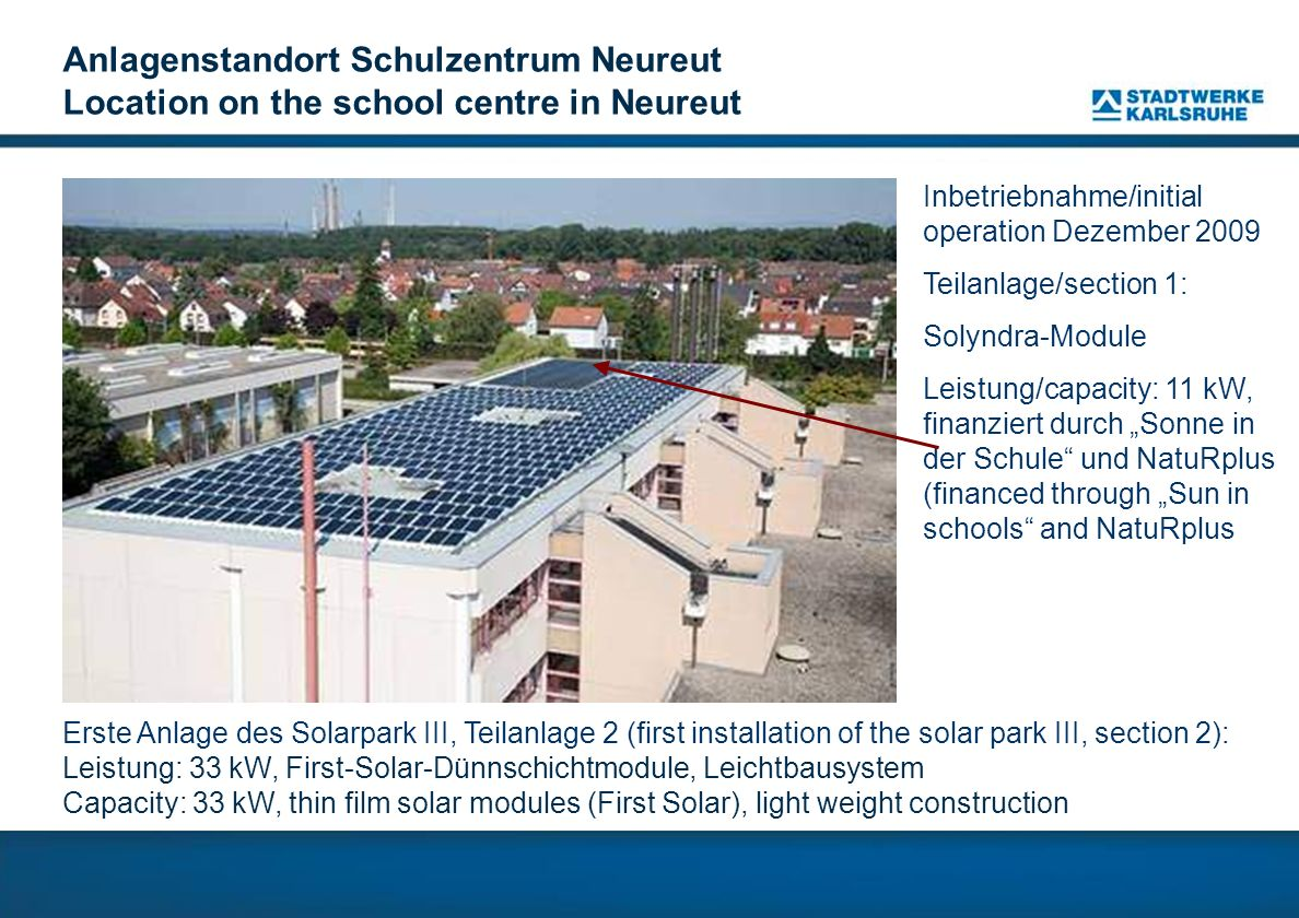 Anlagenstandort Schulzentrum Neureut Location on the school centre in Neureut Erste Anlage des Solarpark III, Teilanlage 2 (first installation of the
