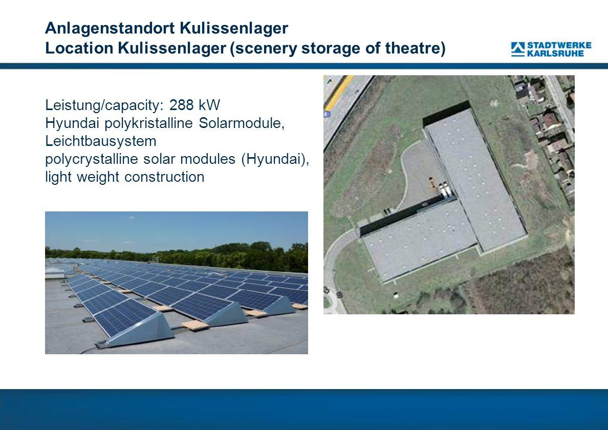 Anlagenstandort Kulissenlager Location Kulissenlager (scenery storage of theatre) Leistung/capacity: 288 kW Hyundai polykristalline Solarmodule, Leichtbausystem polycrystalline solar modules (Hyundai), light weight construction
