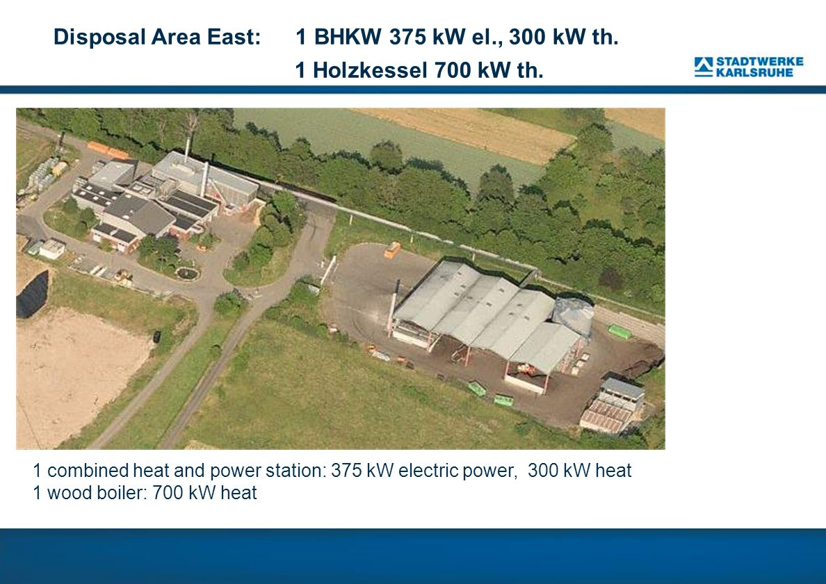 Disposal Area East: 1 BHKW 375 kW el., 300 kW th. 1 Holzkessel 700 kW th. 1 combined heat and power station: 375 kW electric power, 300 kW heat 1 wood