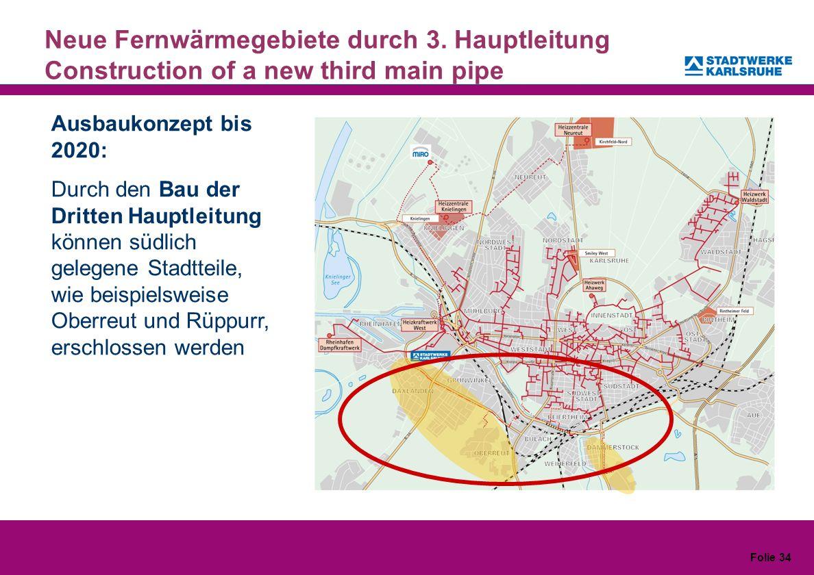 Folie 34 Neue Fernwärmegebiete durch 3. Hauptleitung Construction of a new third main pipe Ausbaukonzept bis 2020: Durch den Bau der Dritten Hauptleit