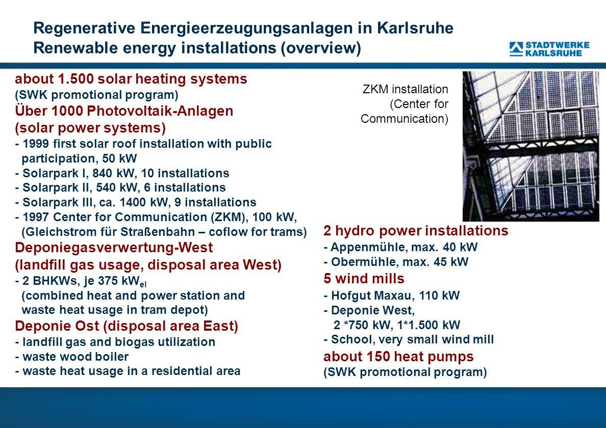 Anlagenstandort Parkdeck Stadtwerke Karlsruhe Location on car park of Stadtwerke Karlsruhe Leistung/capacity: 64 kW First-Solar-Dünnschichtmodule Thin film solar modules (First Solar) Leistung/capacity: 56 kW Solyndra-Dünnschichtmodule Thin film solar modules (Solyndra)