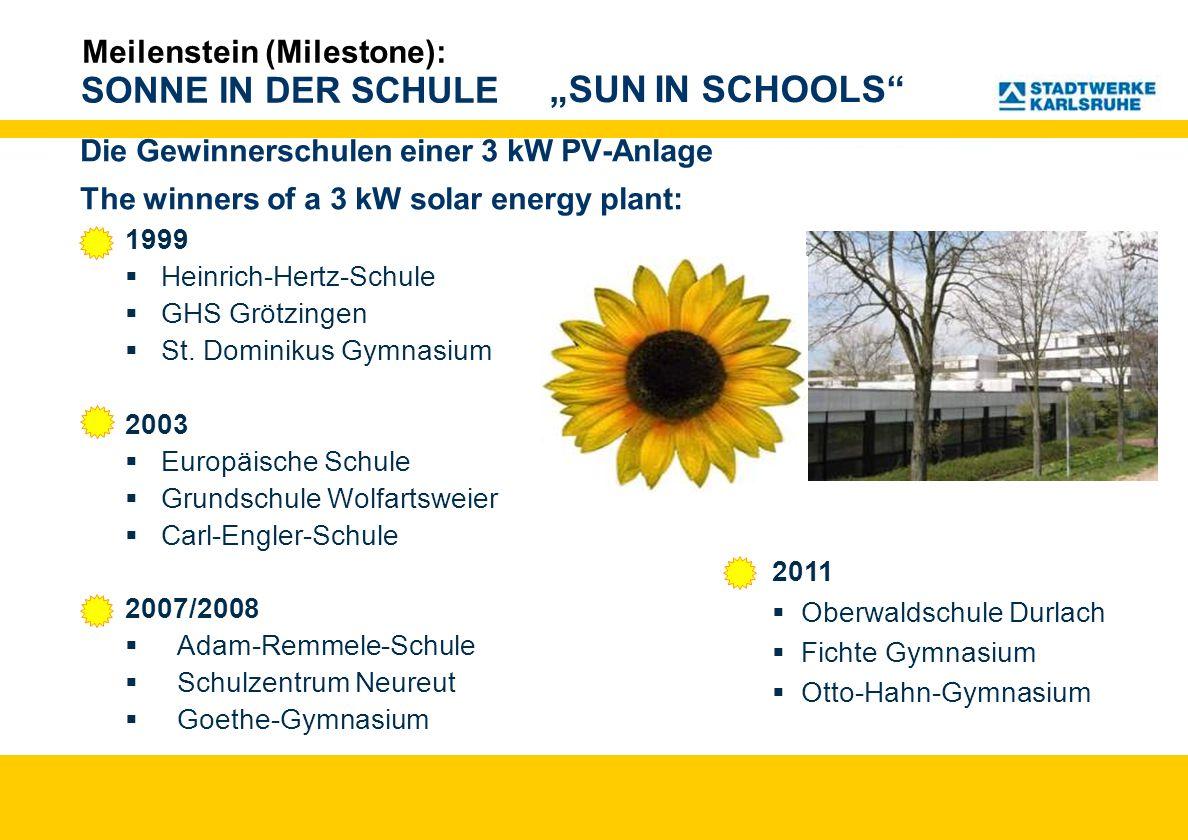 SONNE IN DER SCHULE Die Gewinnerschulen einer 3 kW PV-Anlage The winners of a 3 kW solar energy plant: 1999 Heinrich-Hertz-Schule GHS Grötzingen St. D