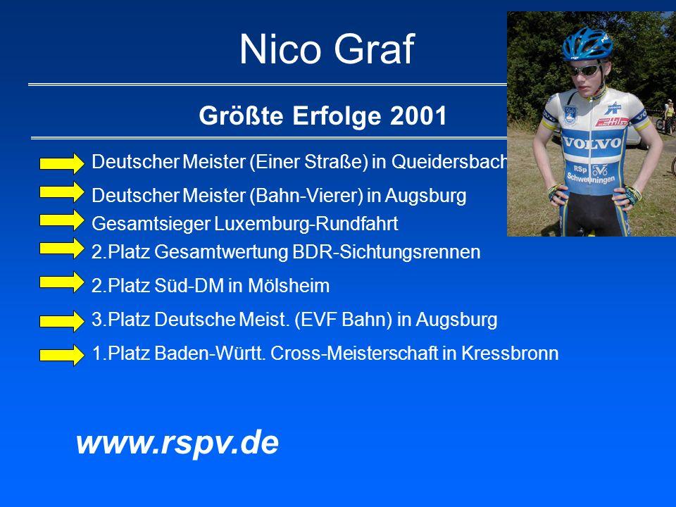 Nico Graf Größte Erfolge 2001 Deutscher Meister (Einer Straße) in Queidersbach Deutscher Meister (Bahn-Vierer) in Augsburg Gesamtsieger Luxemburg-Rund