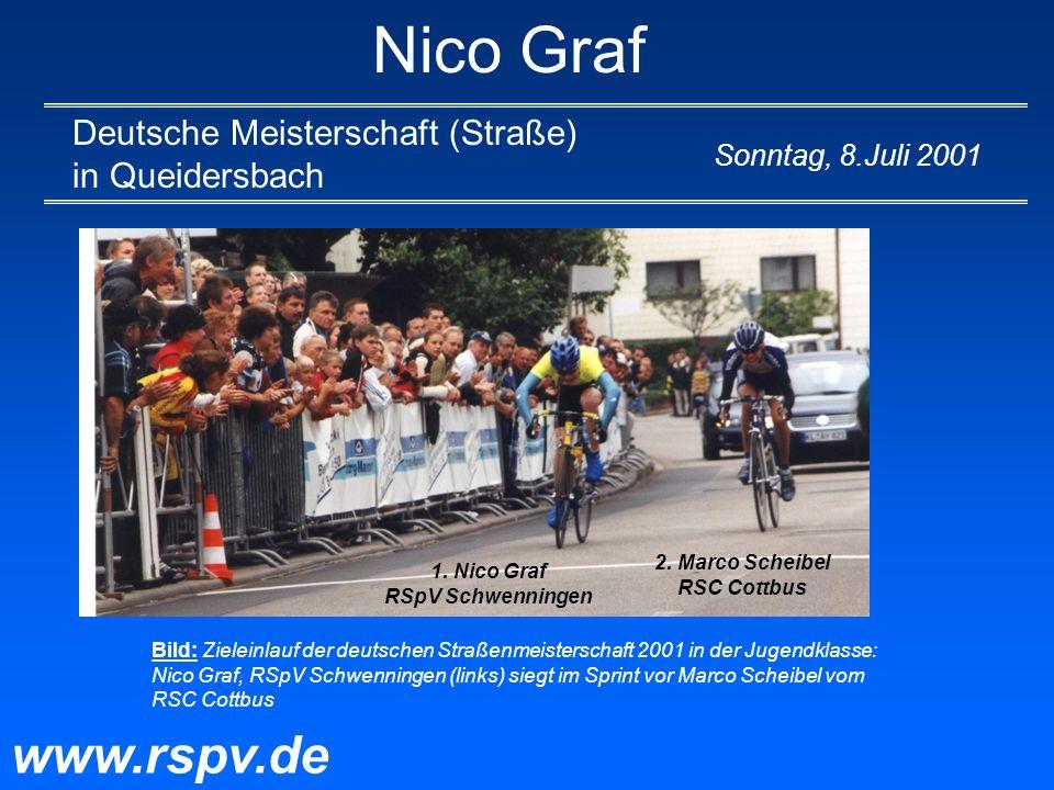 Nico Graf Deutsche Meisterschaft (Straße) in Queidersbach www.rspv.de Sonntag, 8.Juli 2001 Bild: Zieleinlauf der deutschen Straßenmeisterschaft 2001 i