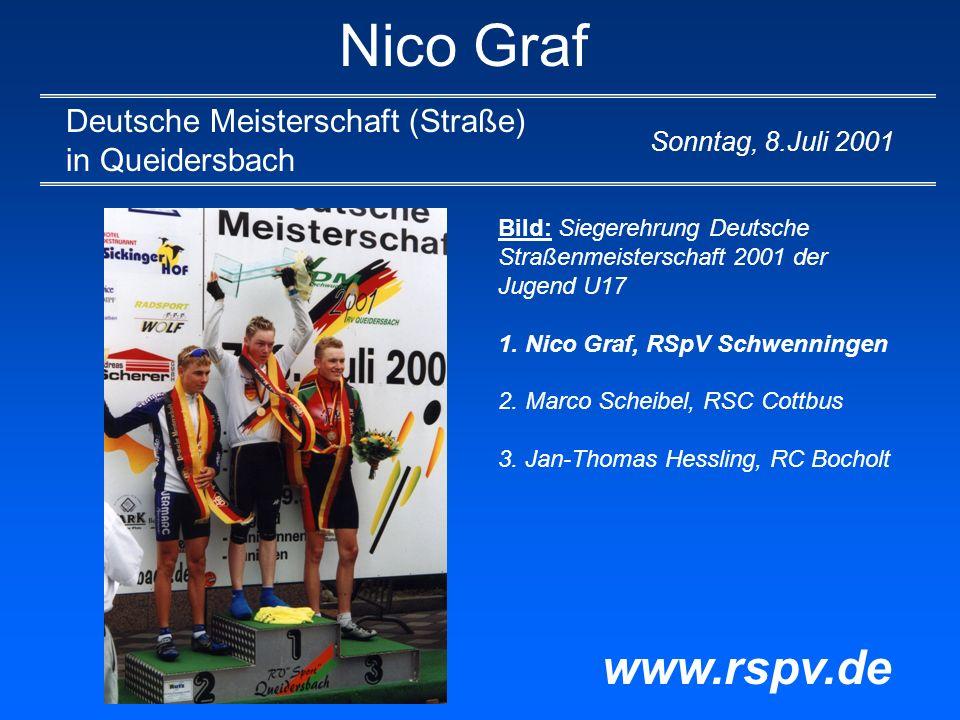 Nico Graf Größte Erfolge 2001 Deutscher Meister (Vierer- Mannschaft) in Augsburg www.rspv.de Sonntag, 5.August 2001 Bild: Deutscher Jugendmeister in der 3000 m Mannschaftsverfolgung auf der Bahn wurde der Vierer des württembergischen Radsportverbandes.
