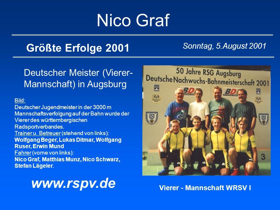 Nico Graf Größte Erfolge 2001 Deutscher Meister (Vierer- Mannschaft) in Augsburg www.rspv.de Sonntag, 5.August 2001 Bild: Deutscher Jugendmeister in d