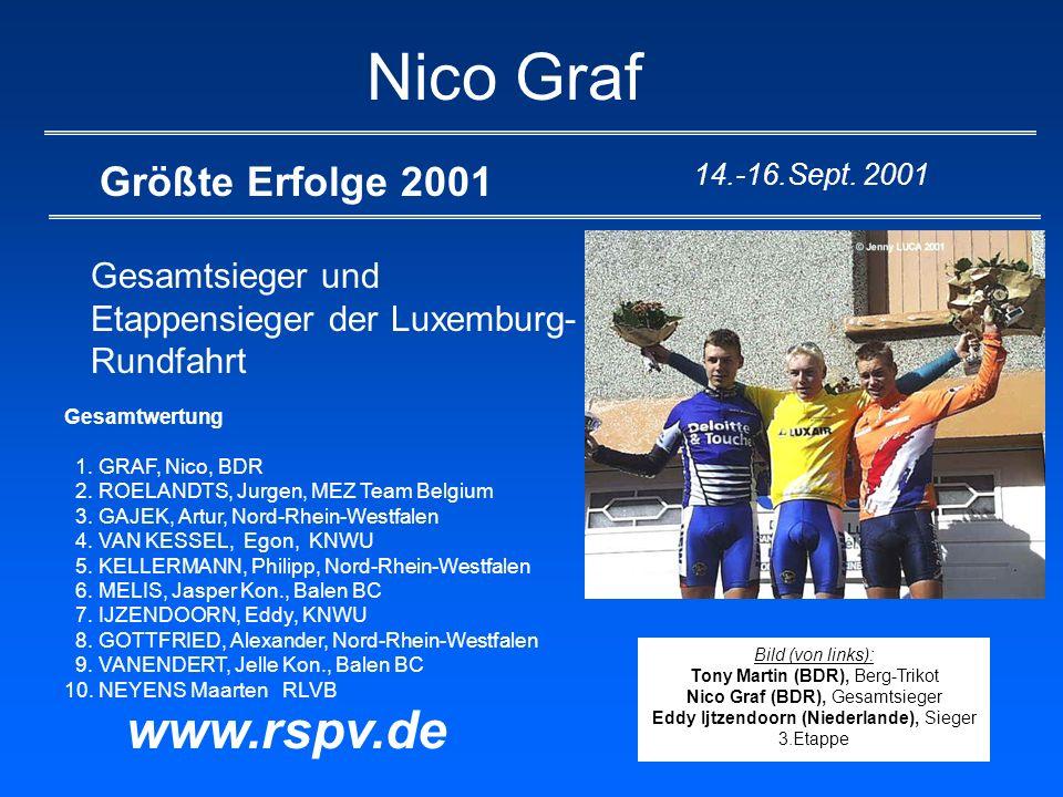 Nico Graf Größte Erfolge 2001 Gesamtsieger und Etappensieger der Luxemburg- Rundfahrt www.rspv.de 14.-16.Sept. 2001 Gesamtwertung 1. GRAF, Nico, BDR 2