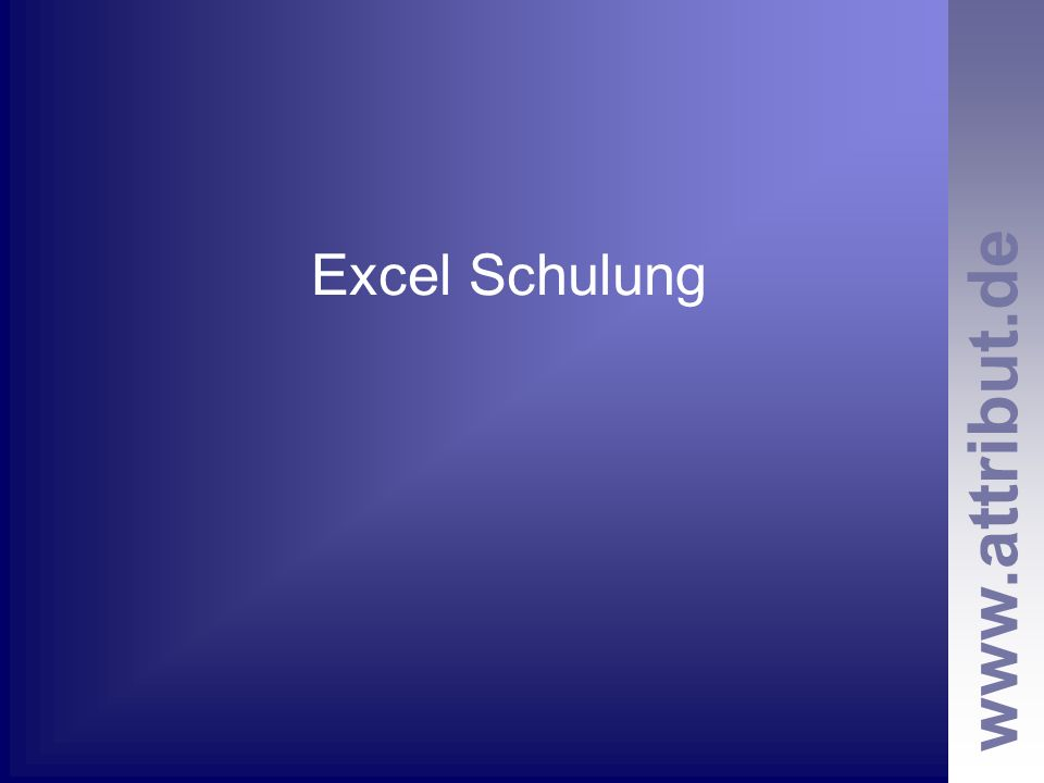 Excel Schulung