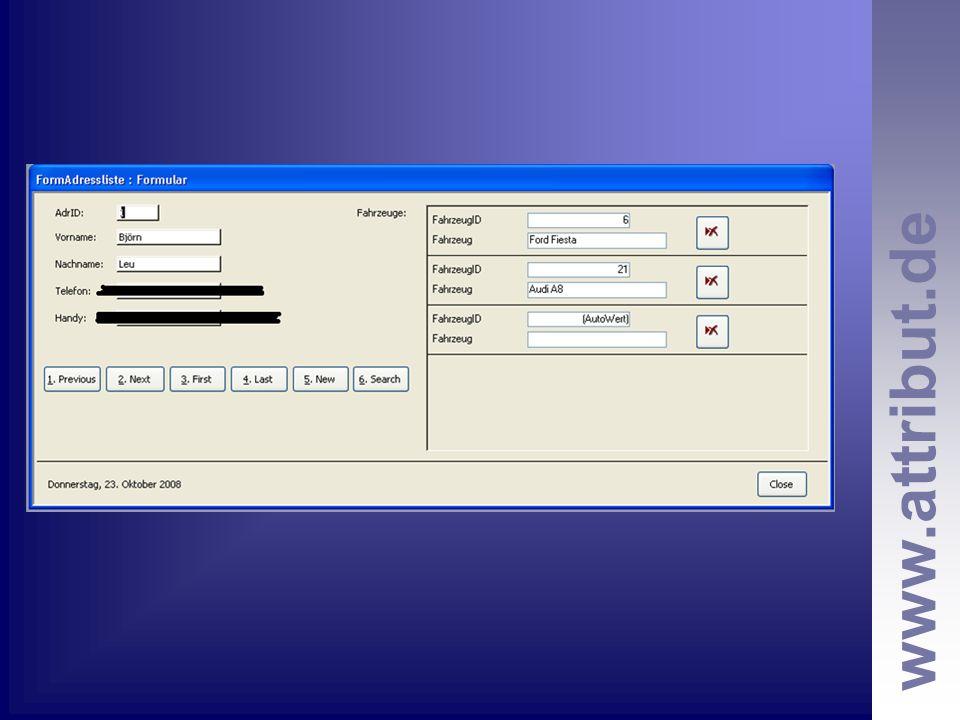 www.attribut.de nächste Aufgaben: Office CoPilot optimieren Heranführung an KfzPilot –Lösen von kleineren Bugs und Optimierungen SQL- Schulung Allgemeine Datenbankthemen