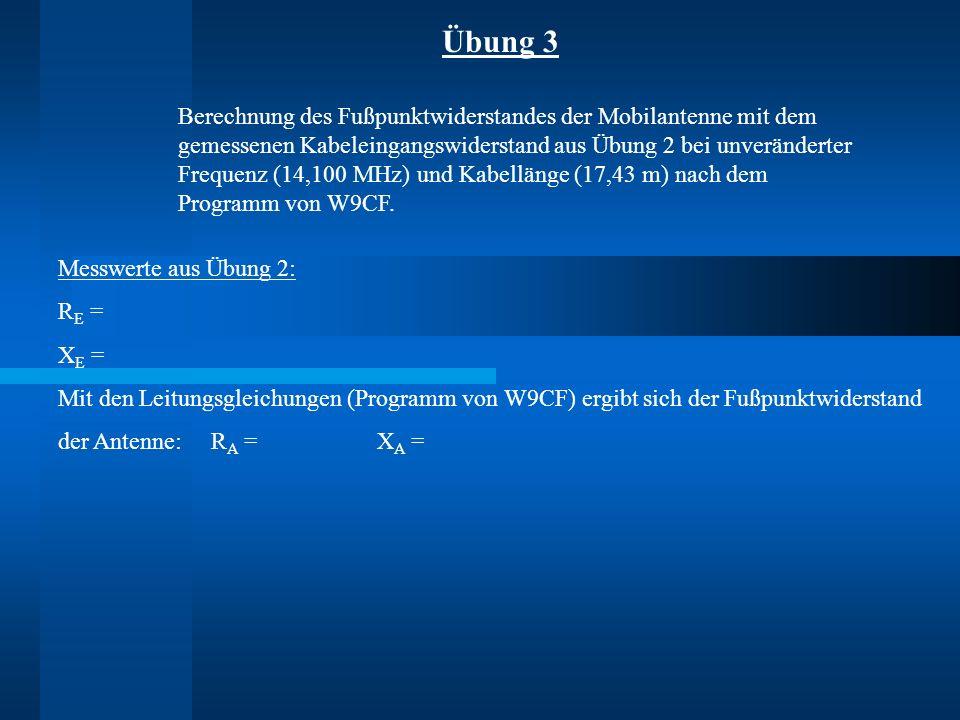 Übung 3 Berechnung des Fußpunktwiderstandes der Mobilantenne mit dem gemessenen Kabeleingangswiderstand aus Übung 2 bei unveränderter Frequenz (14,100 MHz) und Kabellänge (17,43 m) nach dem Programm von W9CF.