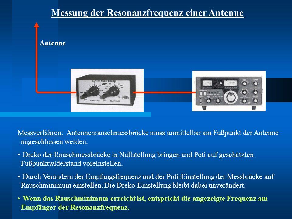 Messverfahren: Antennenrauschmessbrücke muss unmittelbar am Fußpunkt der Antenne angeschlossen werden. Dreko der Rauschmessbrücke in Nullstellung brin
