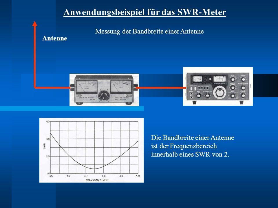 Anwendungsbeispiel für das SWR-Meter Antenne Die Bandbreite einer Antenne ist der Frequenzbereich innerhalb eines SWR von 2. Messung der Bandbreite ei