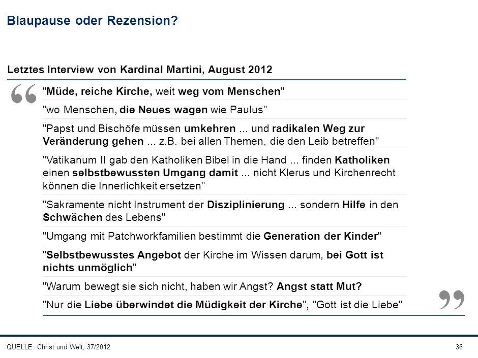 36 Blaupause oder Rezension? QUELLE: Christ und Welt, 37/2012 Letztes Interview von Kardinal Martini, August 2012
