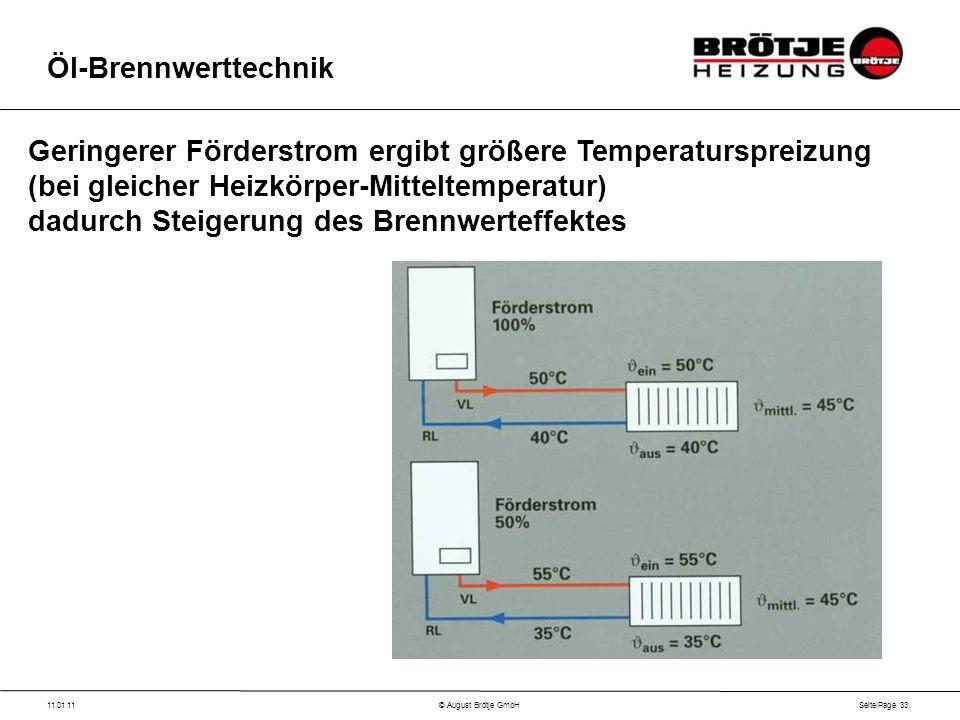 Seite/Page 33 11.01.11© August Brötje GmbH Öl-Brennwerttechnik Geringerer Förderstrom ergibt größere Temperaturspreizung (bei gleicher Heizkörper-Mitteltemperatur) dadurch Steigerung des Brennwerteffektes