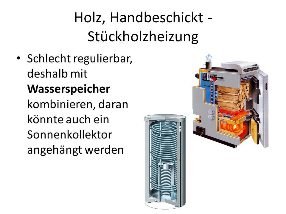 Holz, Handbeschickt - Stückholzheizung Schlecht regulierbar, deshalb mit Wasserspeicher kombinieren, daran könnte auch ein Sonnenkollektor angehängt w