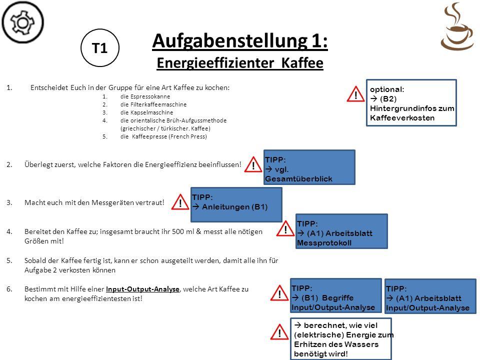 Aufgabenstellung 1: Energieeffizienter Kaffee T1 Platz für Notizen!