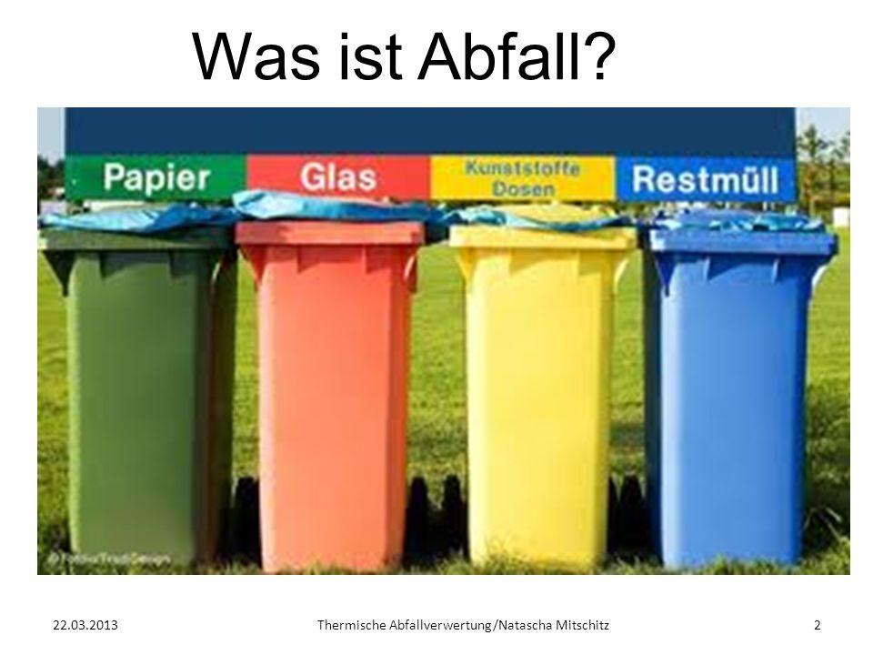 22.03.2013Thermische Abfallverwertung/Natascha Mitschitz2 Was ist Abfall?