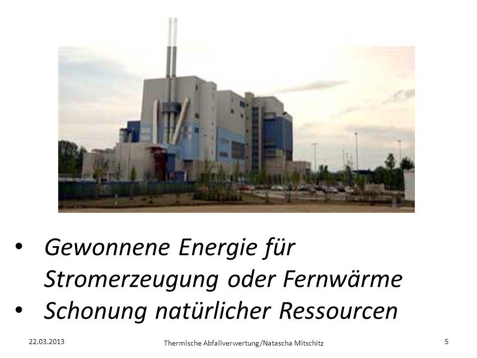 22.03.2013 Thermische Abfallverwertung/Natascha Mitschitz 5 Gewonnene Energie für Stromerzeugung oder Fernwärme Schonung natürlicher Ressourcen