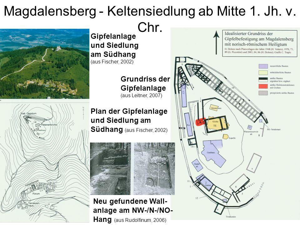 Magdalensberg - Keltensiedlung ab Mitte 1. Jh. v. Chr. Gipfelanlage und Siedlung am Südhang (aus Fischer, 2002) Plan der Gipfelanlage und Siedlung am