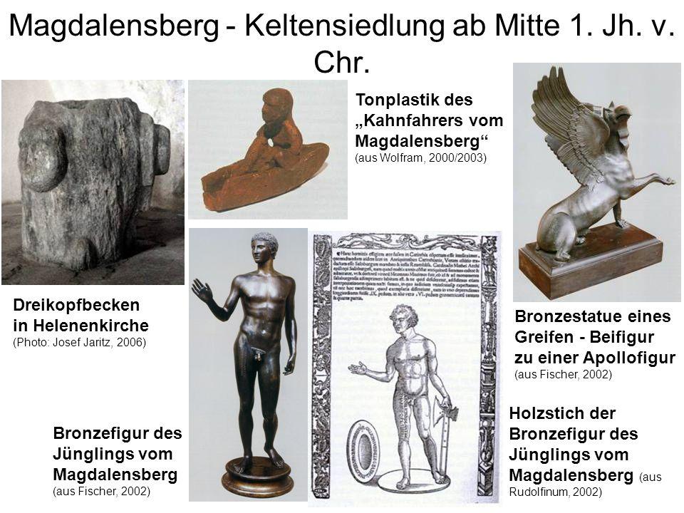 Magdalensberg - Keltensiedlung ab Mitte 1. Jh. v. Chr. Bronzefigur des Jünglings vom Magdalensberg (aus Fischer, 2002) Holzstich der Bronzefigur des J