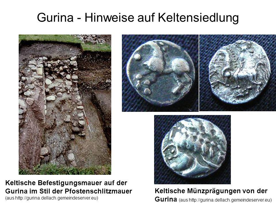 Gurina - Hinweise auf Keltensiedlung Keltische Befestigungsmauer auf der Gurina im Stil der Pfostenschlitzmauer (aus http://gurina.dellach.gemeindeser