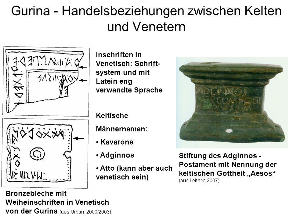 Gurina - Handelsbeziehungen zwischen Kelten und Venetern Keltische Männernamen: Kavarons Adginnos Atto (kann aber auch venetisch sein) Inschriften in