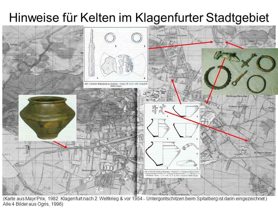Hinweise für Kelten im Klagenfurter Stadtgebiet (Karte aus Mayr/Prix, 1982: Klagenfurt nach 2. Weltkrieg & vor 1954 - Untergoritschitzen beim Spitalbe