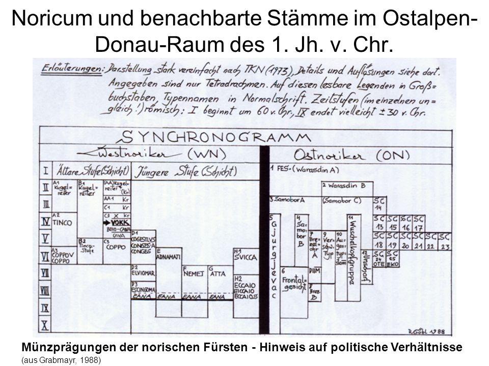 Noricum und benachbarte Stämme im Ostalpen- Donau-Raum des 1. Jh. v. Chr. Münzprägungen der norischen Fürsten - Hinweis auf politische Verhältnisse (a
