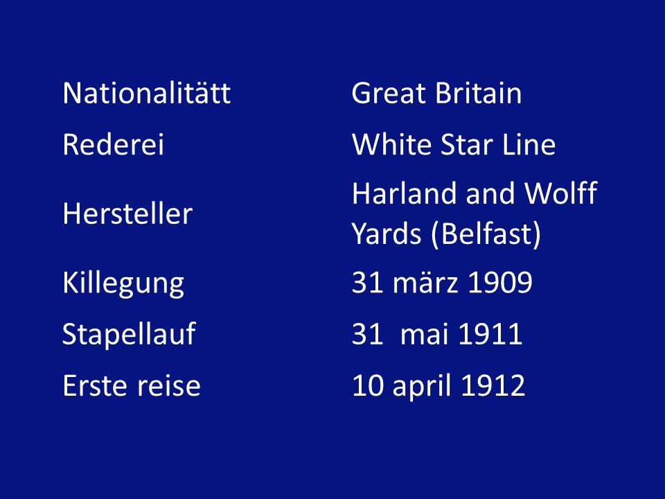 NationalitättGreat Britain RedereiWhite Star Line Hersteller Harland and Wolff Yards (Belfast) Killegung31 märz 1909 Stapellauf31 mai 1911 Erste reise10 april 1912