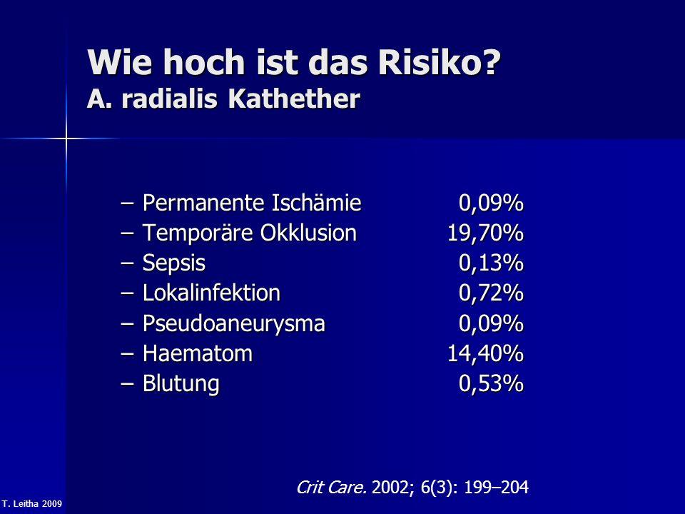 T. Leitha 2009 Wie hoch ist das Risiko? A. radialis Kathether –Permanente Ischämie 0,09% –Temporäre Okklusion 19,70% –Sepsis 0,13% –Lokalinfektion 0,7