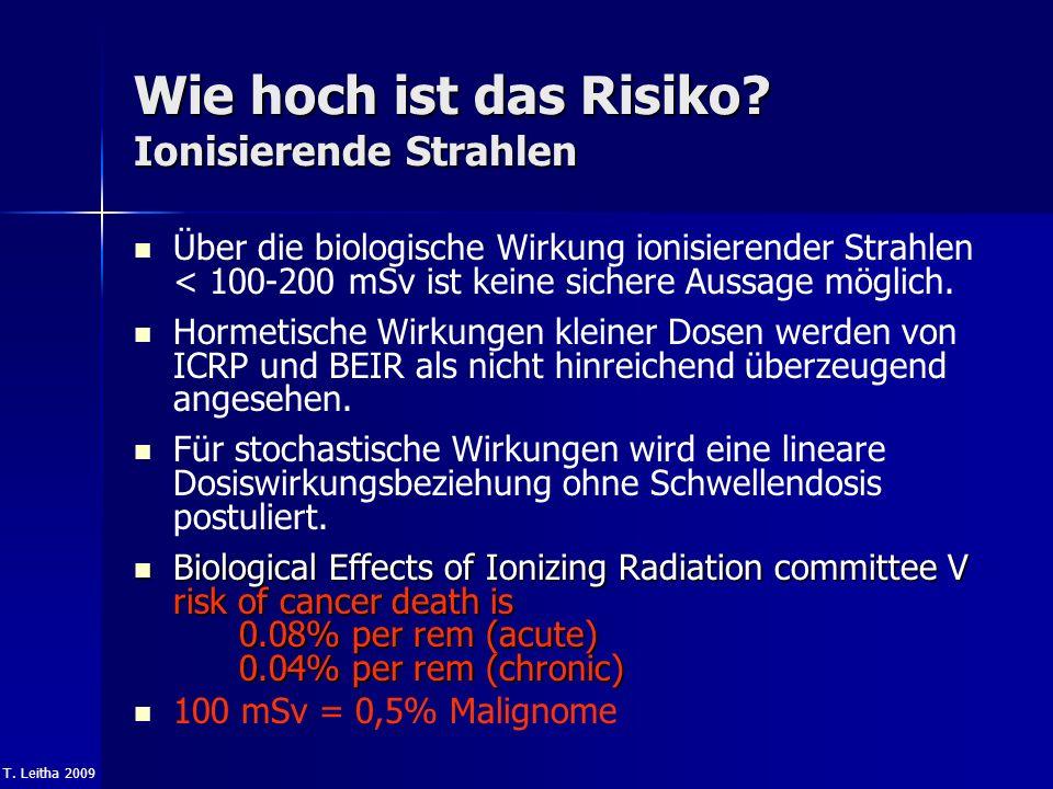 T. Leitha 2009 Wie hoch ist das Risiko? Ionisierende Strahlen Über die biologische Wirkung ionisierender Strahlen < 100-200 mSv ist keine sichere Auss