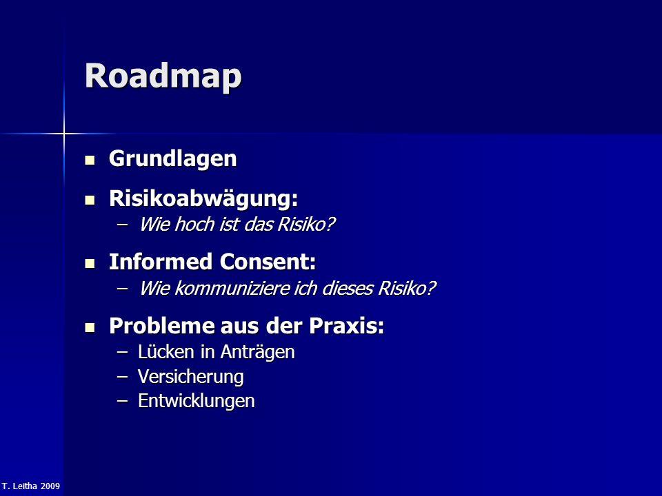 T. Leitha 2009 Roadmap Grundlagen Grundlagen Risikoabwägung: Risikoabwägung: –Wie hoch ist das Risiko? Informed Consent: Informed Consent: –Wie kommun