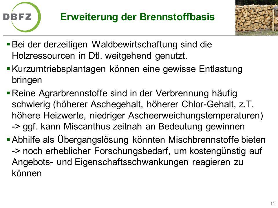 11 Erweiterung der Brennstoffbasis Bei der derzeitigen Waldbewirtschaftung sind die Holzressourcen in Dtl. weitgehend genutzt. Kurzumtriebsplantagen k