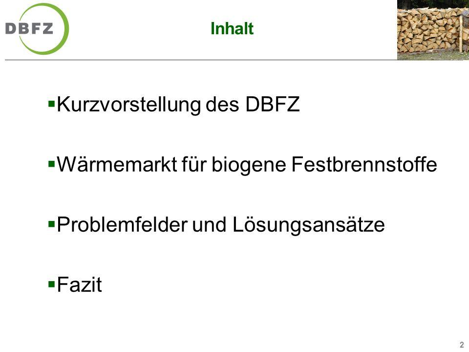 2 Inhalt Kurzvorstellung des DBFZ Wärmemarkt für biogene Festbrennstoffe Problemfelder und Lösungsansätze Fazit